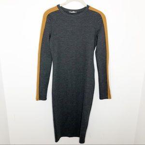 Zara Trafuluc Long Sleeve Stripe Bodycon Dress